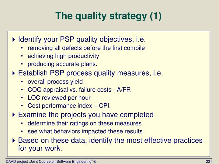The quality strategy (1)
