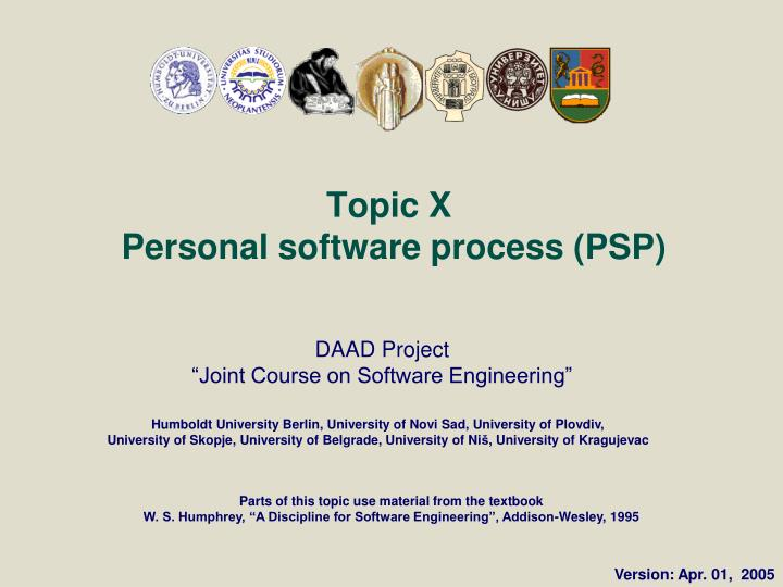 topic x personal software process psp n.