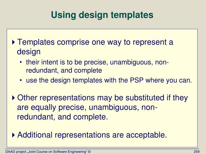 Using design templates