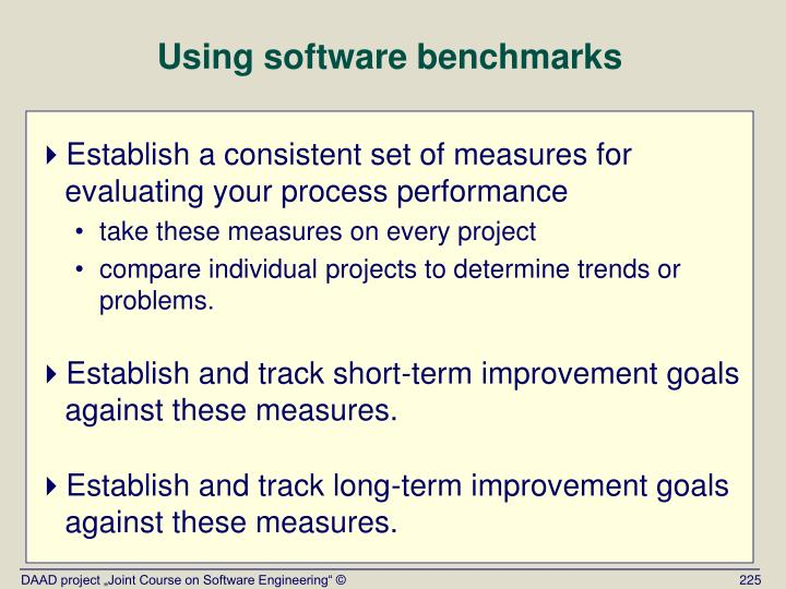 Using software benchmarks