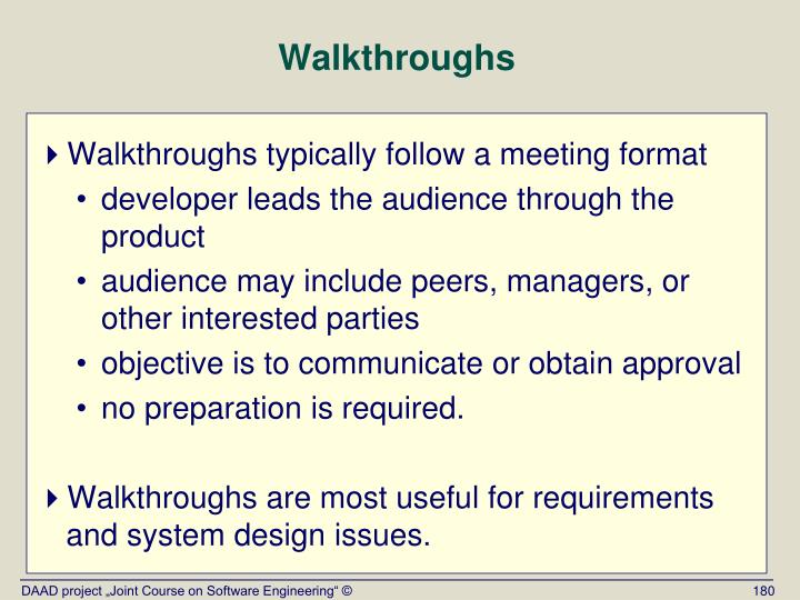 Walkthroughs