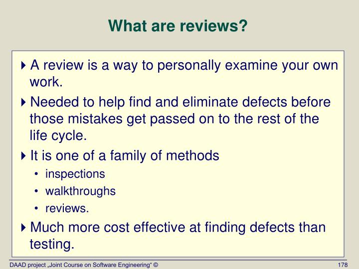 What are reviews?