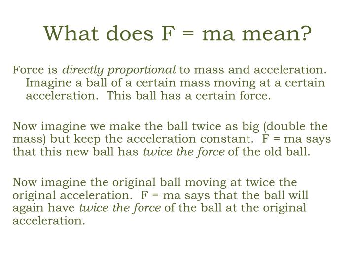 What does F = ma mean?