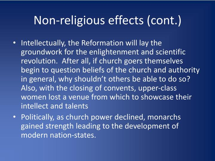 Non-religious effects (cont.)