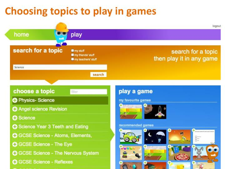 Choosing topics to play in games