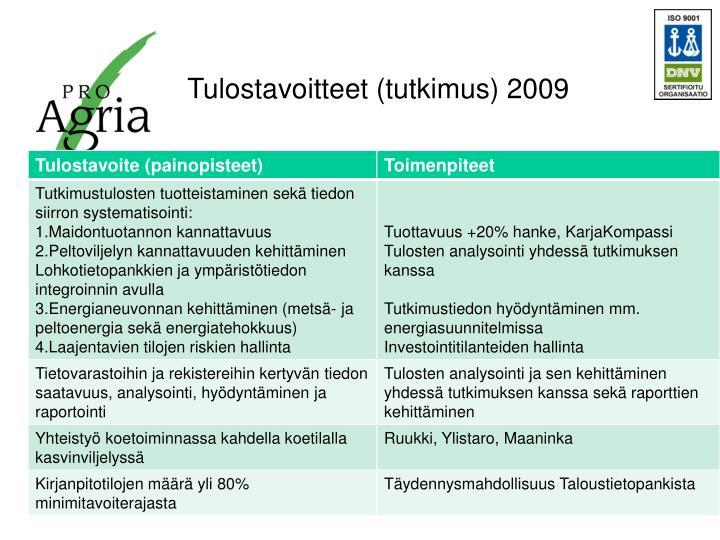 Tulostavoitteet (tutkimus) 2009