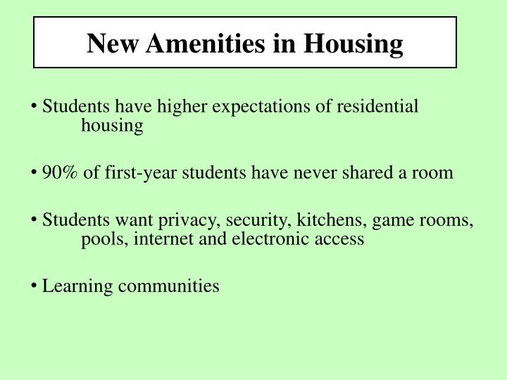 New Amenities in Housing