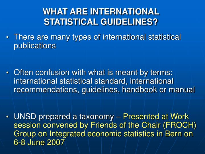 What are international statistical guidelines