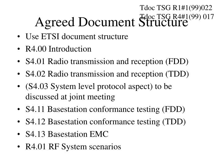 agreed document structure n.