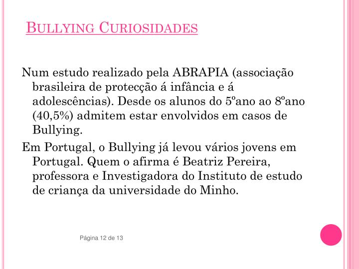 Bullying Curiosidades
