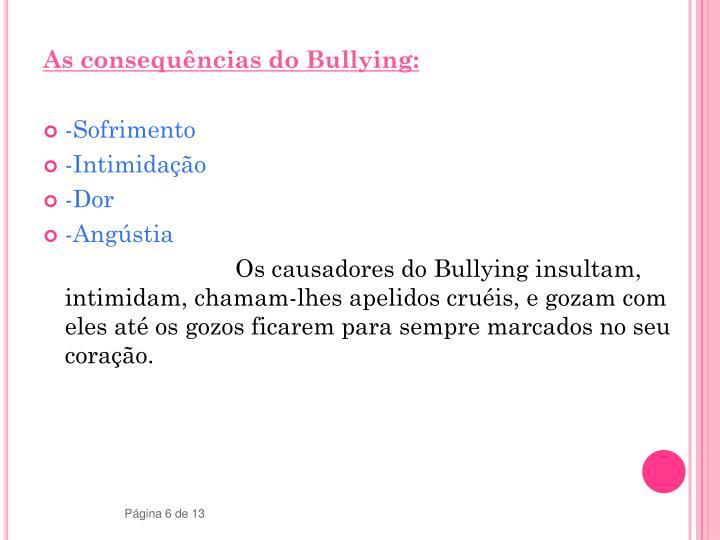 As consequências do Bullying: