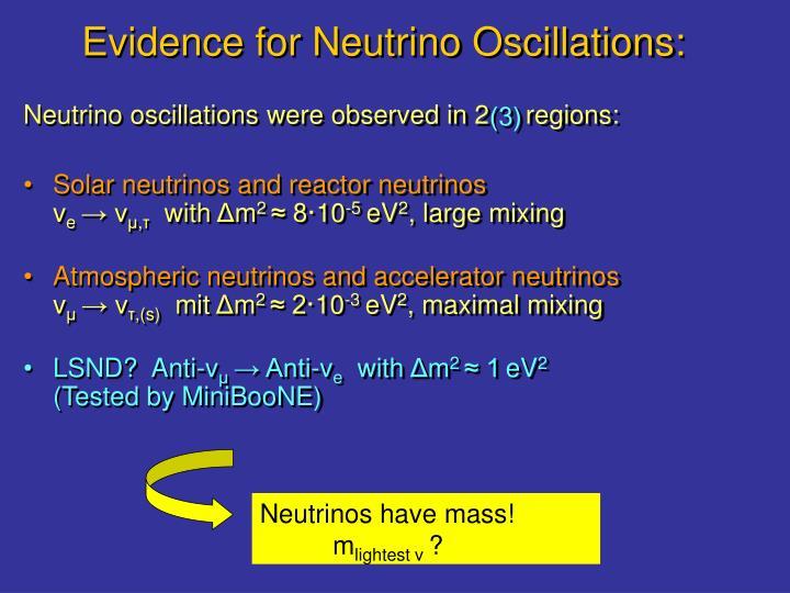 Evidence f o r neutrino oscillations