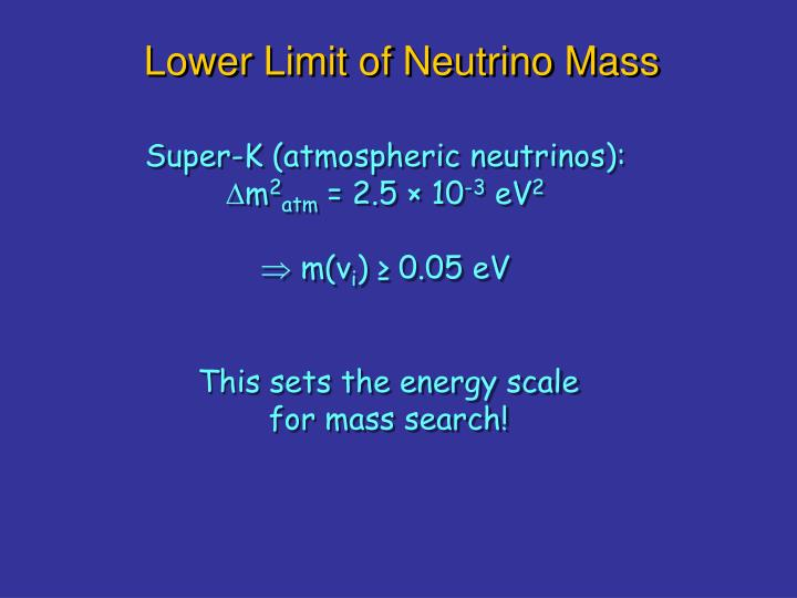 Lower Limit of Neutrino Mass