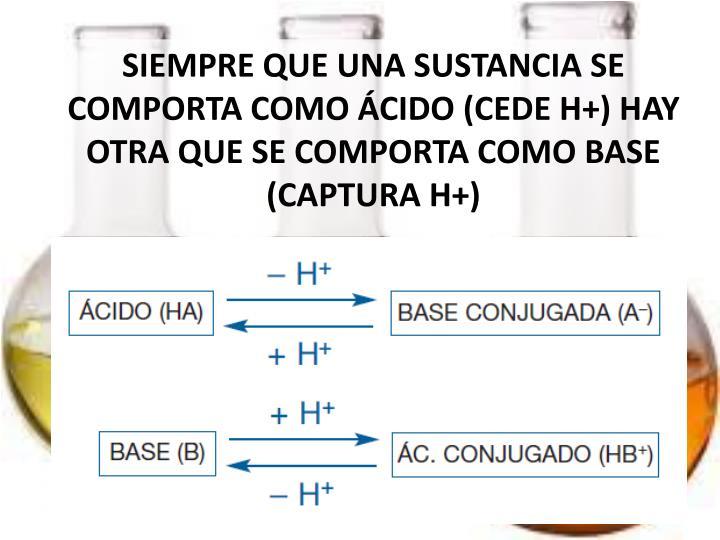 SIEMPRE QUE UNA SUSTANCIA SE COMPORTA COMO ÁCIDO (CEDE H+) HAY OTRA QUE SE COMPORTA COMO BASE (CAPTURA H+)