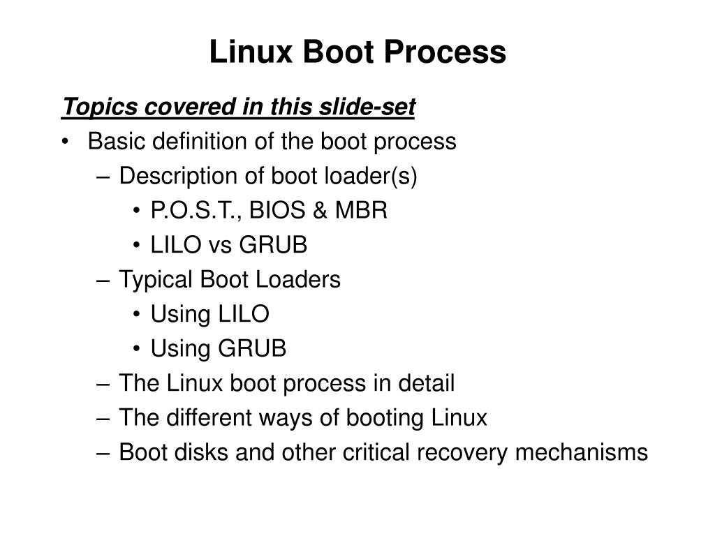 PPT - CST8177 – Linux II Linux Boot Process PowerPoint