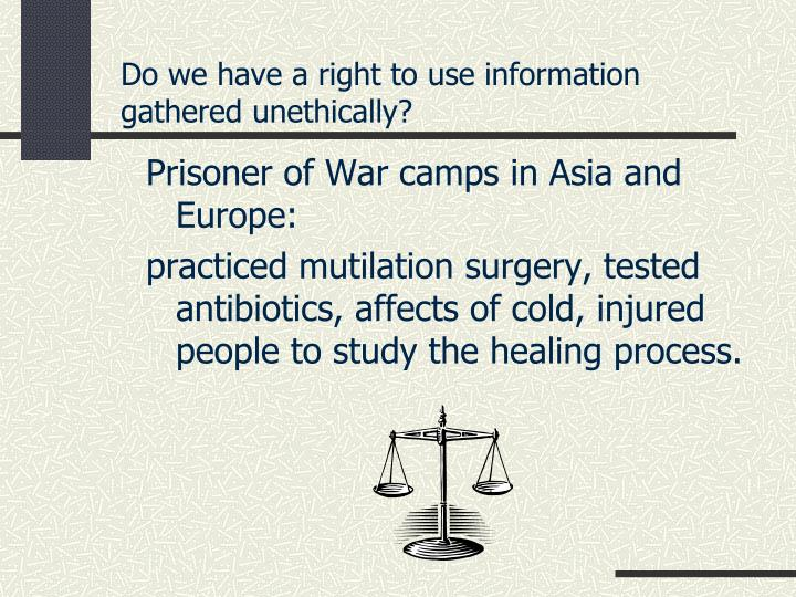 Do we have a right to use information gathered unethically?