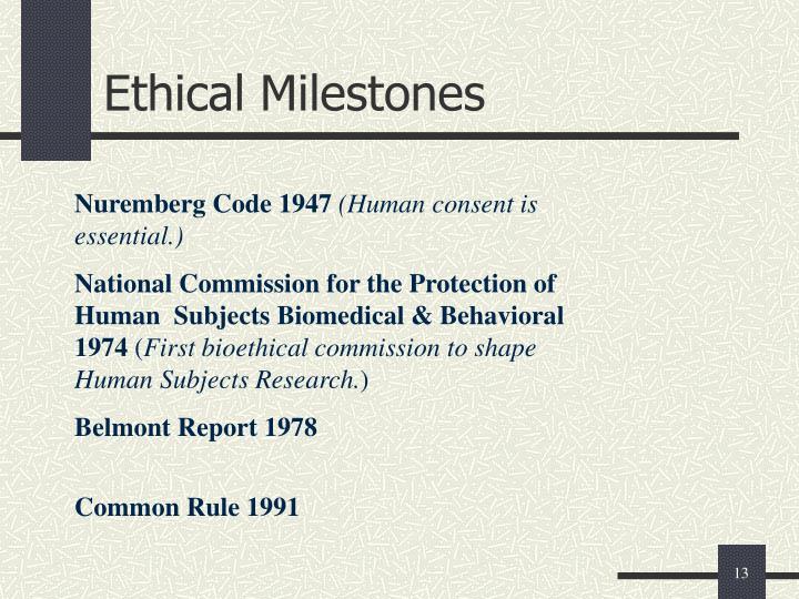 Ethical Milestones