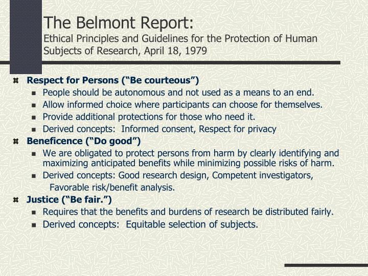 The Belmont Report: