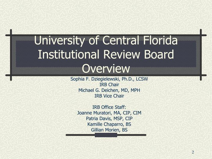University of central florida institutional review board overview