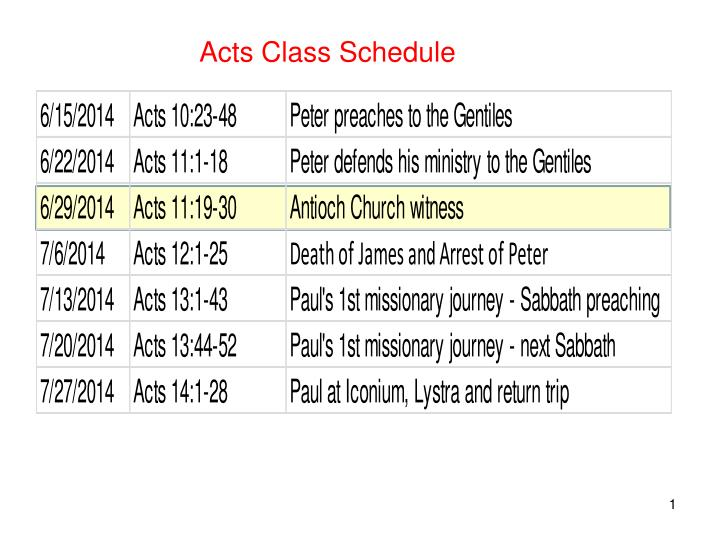 Acts Class Schedule