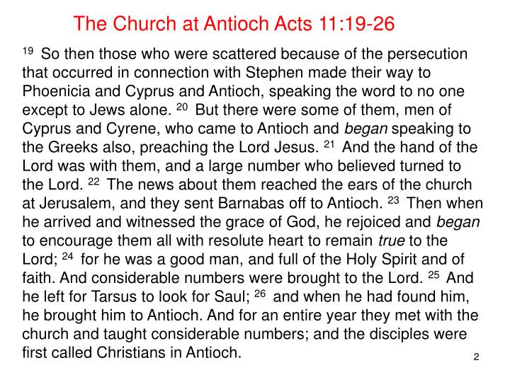 The Church at Antioch Acts 11:19-26