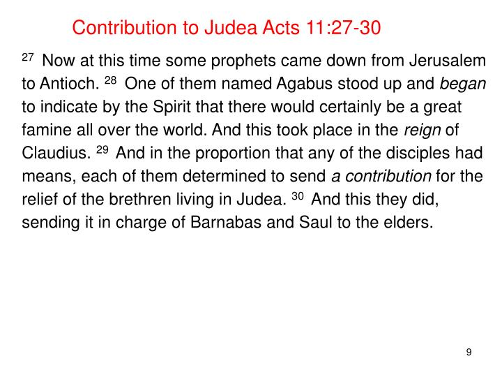 Contribution to Judea Acts 11:27-30