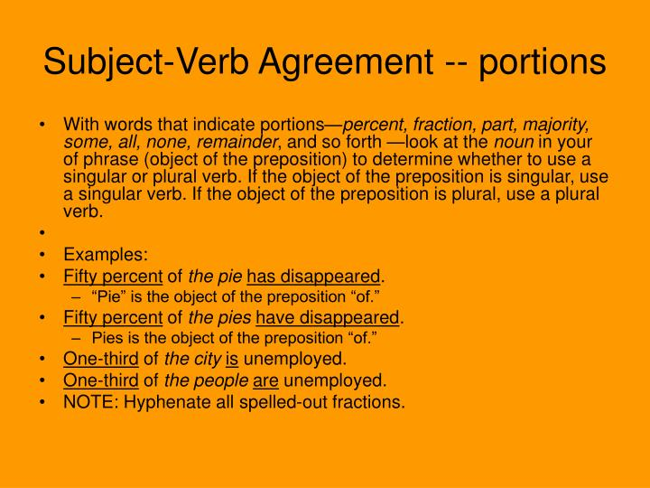 Ppt Subject Verb Agreement Portions Powerpoint Presentation