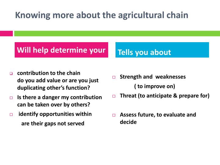 Knowing more about the agricultural chain