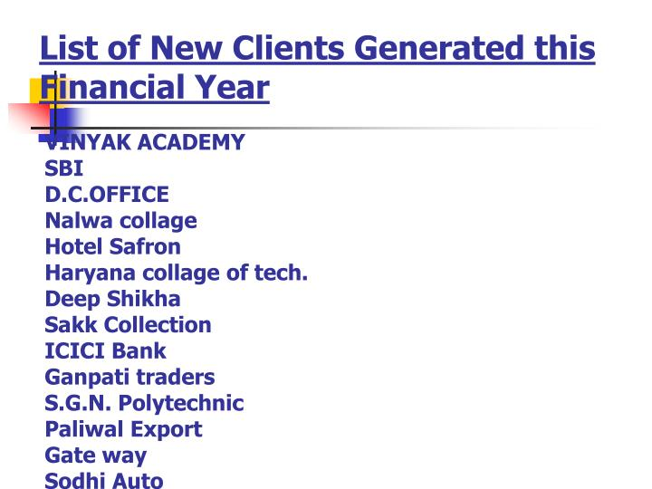 List of New Clients Generated this Financial Year