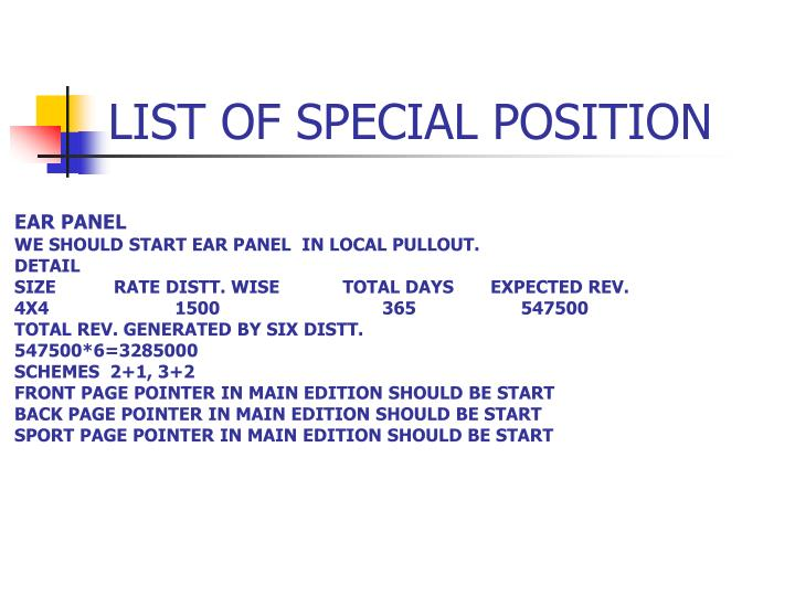 LIST OF SPECIAL POSITION