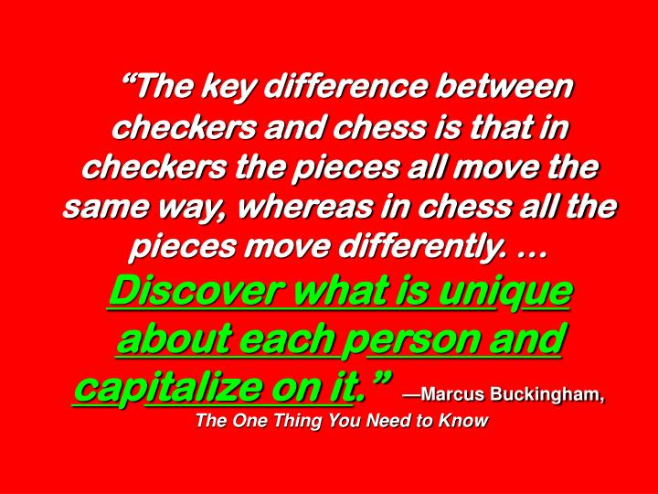 """""""The key difference between checkers and chess is that in checkers the pieces all move the same way, whereas in chess all the pieces move differently. …"""