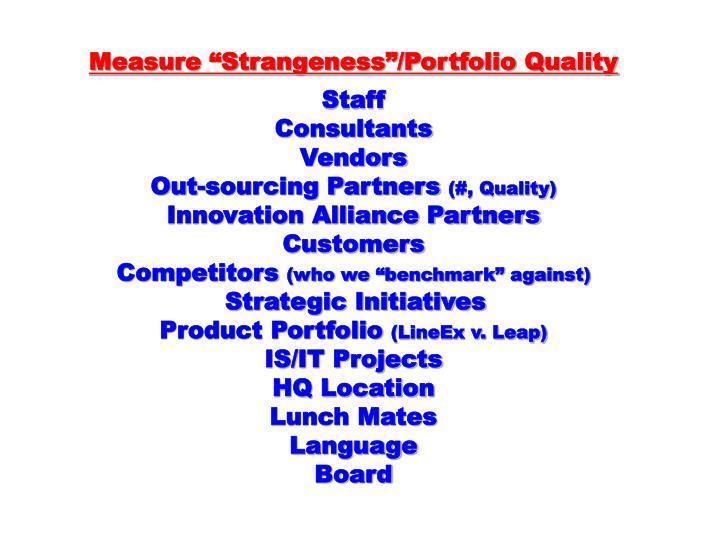 """Measure """"Strangeness""""/Portfolio Quality"""