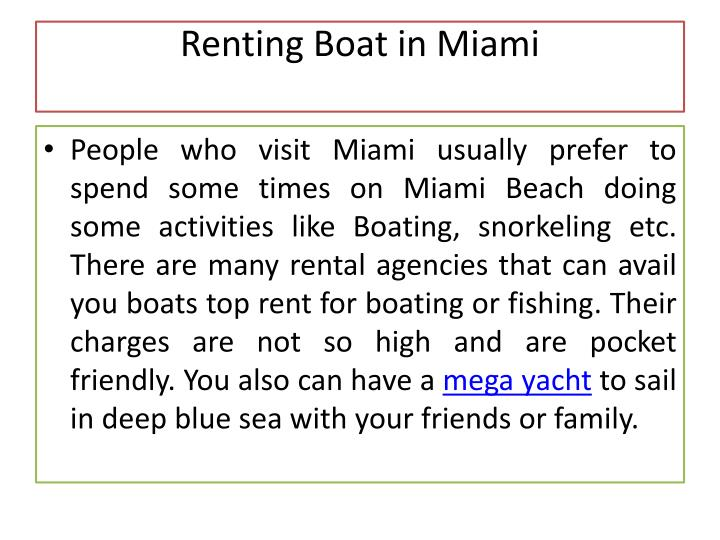 Renting Boat in Miami