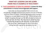 what key lessons can we learn from paul s example in this story