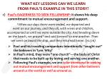 what key lessons can we learn from paul s example in this story1