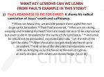 what key lessons can we learn from paul s example in this story5