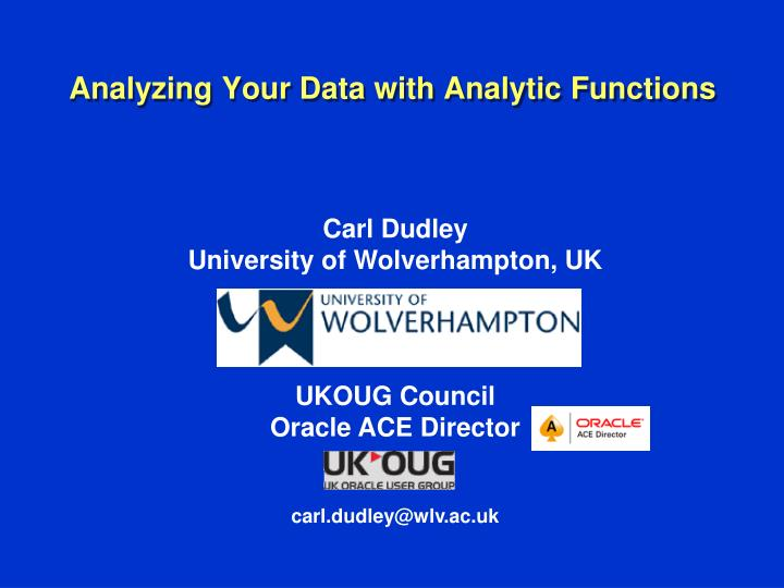 analyzing your data with analytic functions n.