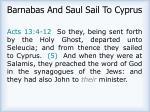 barnabas and saul sail to cyprus