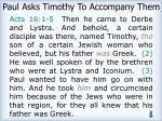 paul asks timothy to accompany them