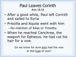 paul leaves corinth acts 18 18