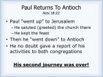 paul returns to antioch acts 18 22