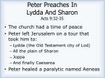 peter preaches in lydda and sharon acts 9 32 35