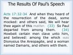 the results of paul s speech