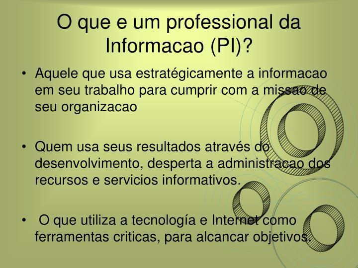 O que e um professional da Informacao (PI)?