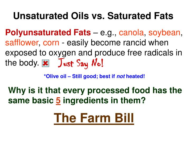 Unsaturated Oils vs. Saturated Fats