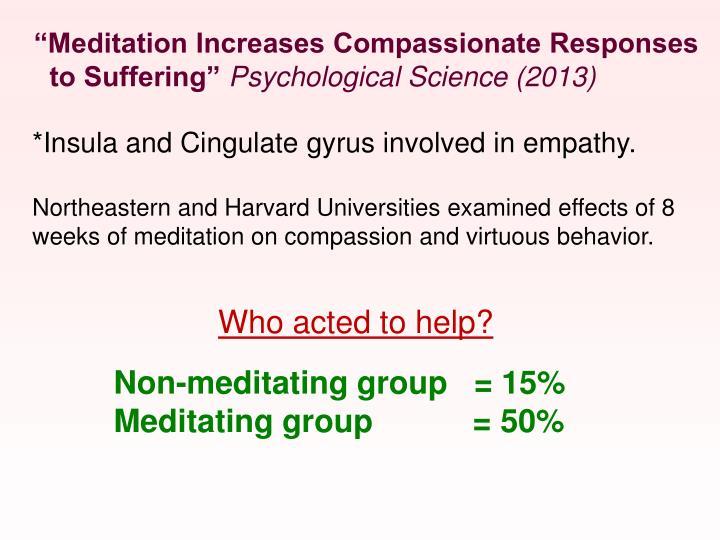 """Meditation Increases Compassionate Responses"