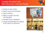 catalog retailers can add electronic channel easily