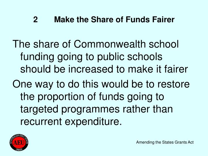 2Make the Share of Funds Fairer