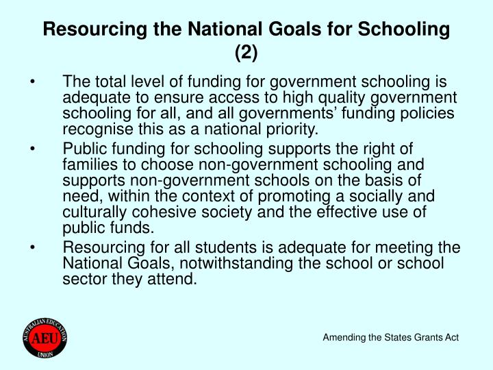 Resourcing the National Goals for Schooling (2)