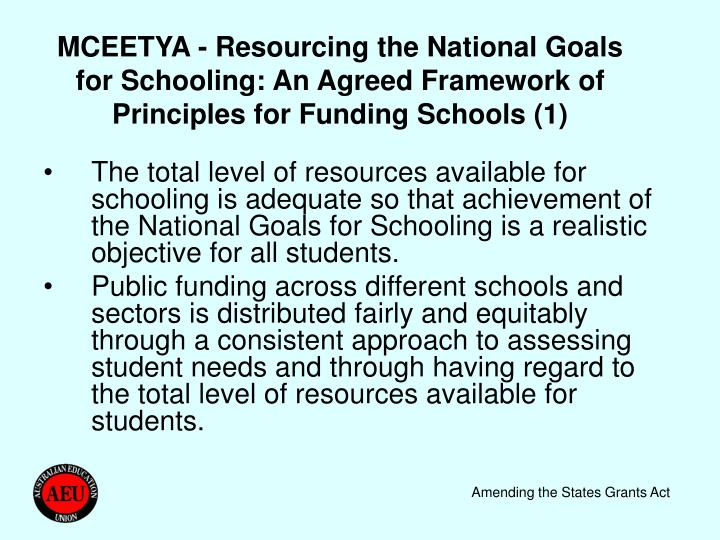 MCEETYA - Resourcing the National Goals for Schooling: An Agreed Framework of Principles for Funding Schools (1)